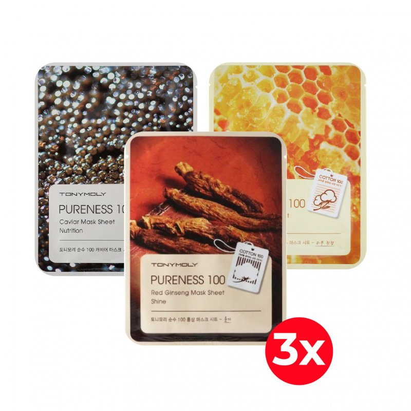 Pack 3X Mascarillas Pureness (Caviar, Propolis, Red Ginseng)